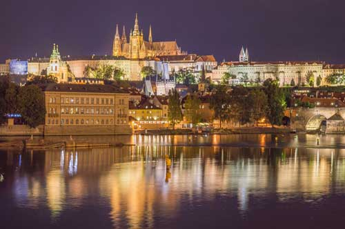 Night view of the Castle of Prague - Czech Republic