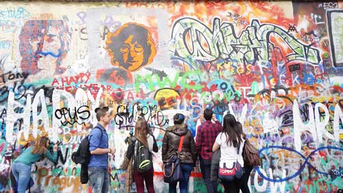 John Lennon wall in Mala Strana - Prague, Czech Republic
