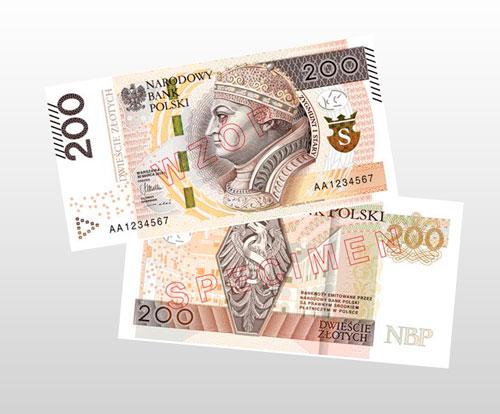 Diseño del nuevo billete de 200 Zlotys Polacos