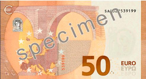 Reverso del nuevo billete de 50 Euros