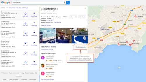 Escribe una reserña sobre Eurochange en Google Maps
