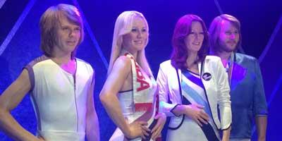 Componentes del grupo ABBA en el museo de ABBA - Estocolmo, Suecia