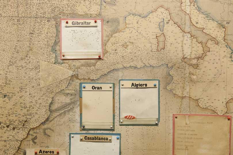 Sala de los mapas en el museo de Churchill, Londres