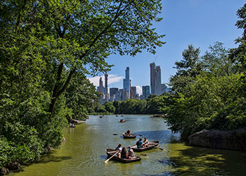 Boats at Central Park lake in New York