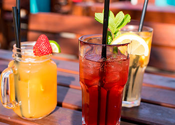 Beverages at an outdoor terrace in New York