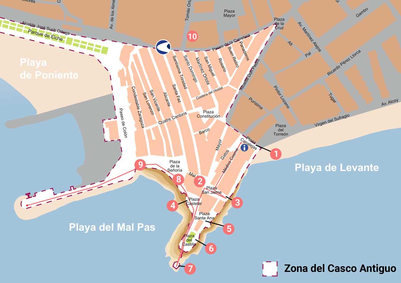 Mapa del paseo por el Casco Antiguo