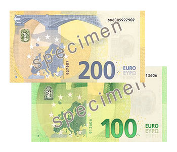 Reverse of the new banknotes of 100 and 200 Euros