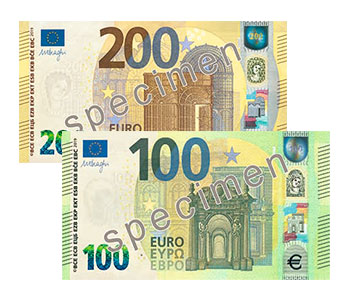 Anverso billetes nuevos de 100 y 200 Euros
