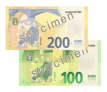 Reverso nuevos billetes de 100 y 200 Euros serie Europa