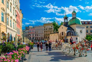 Plaza del Mercado en Cracovia, Polonia