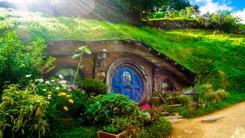 Casa del Hobbit en la ciudad de Wellington, Nueva Zelanda