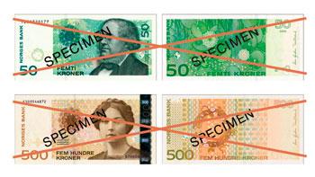 Billetes retirados de 50 y 500 Coronas Noruegas