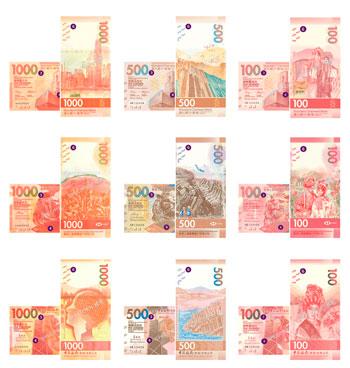 Billetes de 100, 500 y 1000 Dólares de Hong Kong