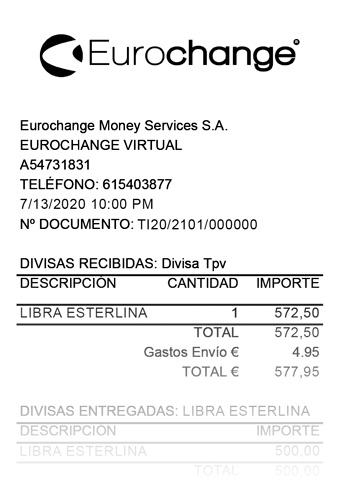 Ejemplo de ticket de Eurochange