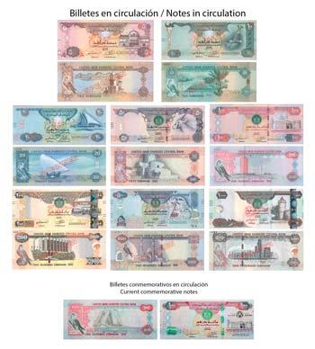 Billetes de Dírham de Emiratos Árabes en circulación