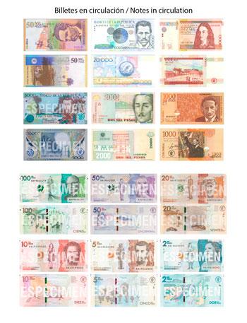 Billetes en circulación de Peso Colombiano