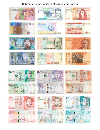 Colombian Peso notes in circulation