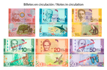Billetes de curso legal de Colón de Costa Rica
