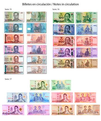 Billetes de Baht tailandés en circulación
