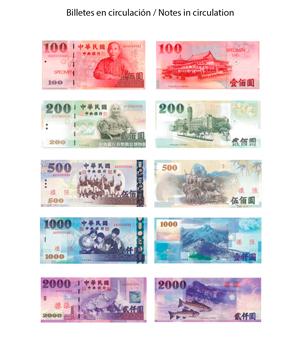 Billetes Dólar Taiwán en circulación