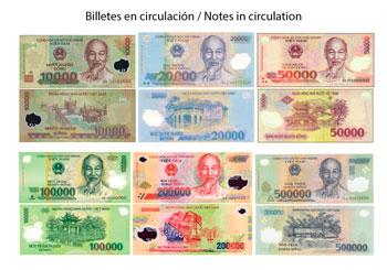 Billetes actuales de Dong Vietnamita